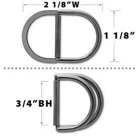 "1-1/8"" Metal D-Ring Buckle by pc, TR-10278S"