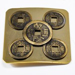 Vintage brass coin metal belt buckle by pc, LT-5499B