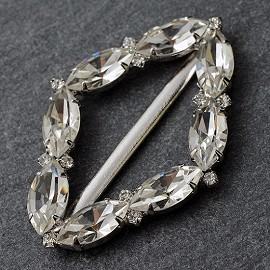 "2-1/4"" x 1-1/2"" Crystal Rhinestone Buckle by PC, FF-7039"