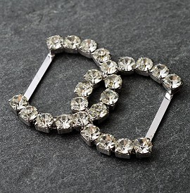 "2-3/16"" x 1-5/8"" Rhinestone Buckle by PC, FF-7409/0140"