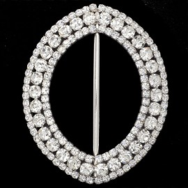 "4-3/8"" x 3-1/2"" Rhinestone Buckle by PC, FF-91/7291"