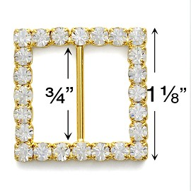 "1-1/8"" x 1-1/8"" Rhinestone Buckle by PC, T1683"