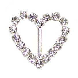 "3/4"" x 3/4"" Heart Rhinestone Buckle by PC, T1873"