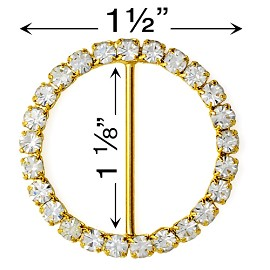 "1-1/2""D Rhinestone Buckle by PC, T1891"