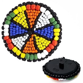 Beaded Button with Shank by pc, CBTN-1012