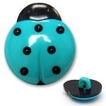 Plastic Ladybug Button with Shank, BLU-W8701