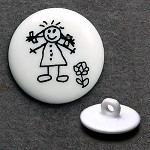Girl Plastic Button with Shank, DIL-211424