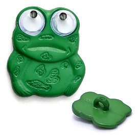 20mm Green Frog Plastic Button with Shank by PC, DIL-280257