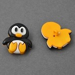 28 x 25mm Penguin Plastic Button with Shank Back by each, LORI-881