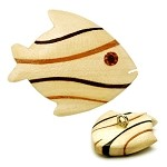 Wood Fish Button with Shank by each, REN-5222
