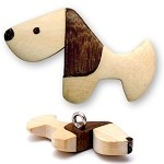 Wood Dog Button with Shank Back by PC, REN-5241