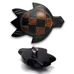 Wood Turtle Button with Shank by each, REN-5247