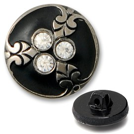 Glass Rhinestone Button with Shank, BEA-G8641