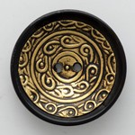 30mm Vintage Bowl shaped Brass Horn Button by 1pc, MAY-HZB-4569