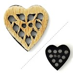 2-Hole Heart Horn Button, Beige, HB-438