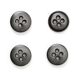 "11mm (7/16"")  Metal Button with 4-Hole by pc, BEA-20962"