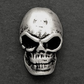 24mm Metal Skull Button with Shank by pc, TR-11144