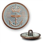 Anchor Motif Metal Button with Shank, 7/8