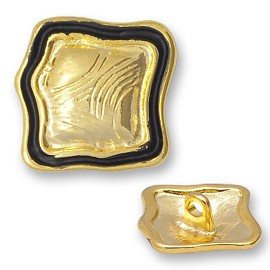 Square Metal Button with Shank, Black/Gold, BT-1319