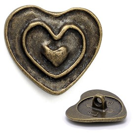 Heart Metal Button with Shank, DIL-290662