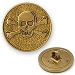 Skull Metal Button with Shank, Gold, DIL-360462