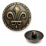 Fleur-De-Lis Crest Metal Button with Shank, DIL-370510