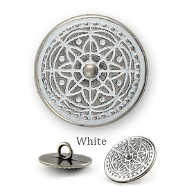 Vintage Antique White Metal Round Button with Shank, GN-2091