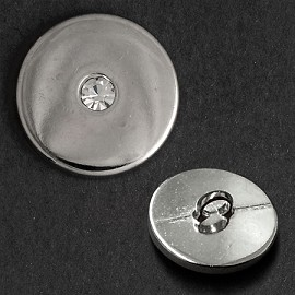 Rhinestone Silver Metal Button by PC, GN-4337