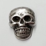 Metal Skull Button with Shank, Silver, TR-11145B