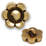 Metal Flower Button with Shank, Gold,Silver, SAN-2384Z