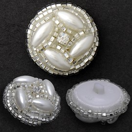 Pearl Beaded Button with Shank, FF-6545