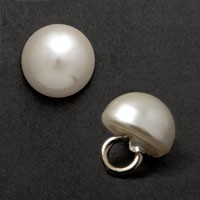 "White Plastic Pearl Button 8mm (5/16"") with Shank by 12 pcs, GN-4583"