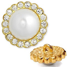Rhinestone and Pearl Button with Shank, T-1294