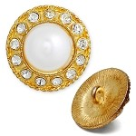 Rhinestone and Pearl Button with Shank, T-1322