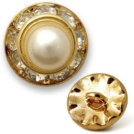 Rhinestone and Pearl Button with Shank, T1336B/C/D
