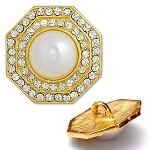 Octagon Rhinestone and Pearl Button with Shank, T-1348
