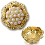 Pearl and Crystal Button with Shank, T-1360P
