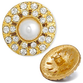 Rhinestone and Pearl Button with Shank, T-1390