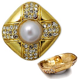 Rhinestone and Pearl Button, T-5166/7