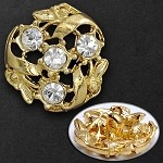20mm Rhinestone Button with Shank, T-1024