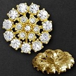 Rhinestone Button with Shank, 20mm, T-1028