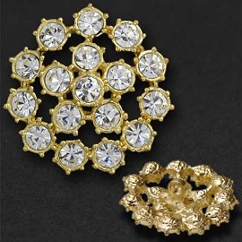 Rhinestone Button with Shank, 34mm, T-1031