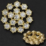 34mm Rhinestone Button with Shank, T-1031