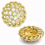 Rhinestone Button with Shank, 16mm, T-1072