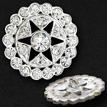 28mm Rhinestone Button with Shank, T-1076