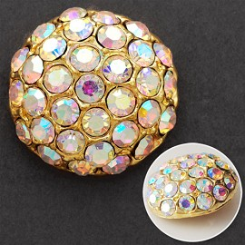 24mm Rhinestone Dome Button with Shank, T-1743