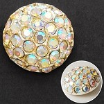 18mm Rhinestone Dome Button with Shank, T-1509