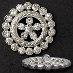 Rhinestone Button with Shank, T1557/8