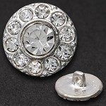 Round Rhinestone Button with Shank by pc, T1630