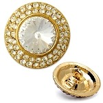Rhinestone Round Button with Shank by pc, T1784A/B
